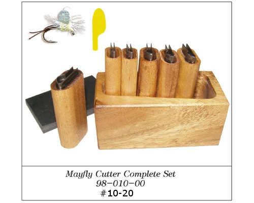 DELUXE MAYFLY  WING 6 CUTTER SET Wood Box Fly Tying