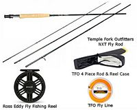 TFO NXT 4/5 Fly Rod & Ross Eddy 5/6 Fly Reel Combo w/ Rod Case & Fly Line - Hi-Vis O